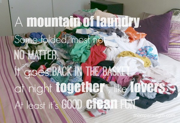 a mountain of laundry