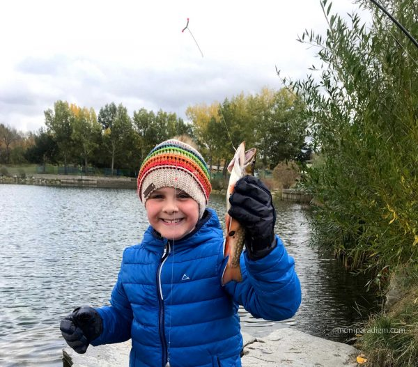 Fishing at Lacombe Lake Park with OLM. He caught his first fish!
